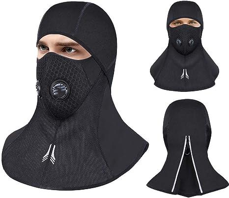 WEYON Cagoule de moto Noir Skimaske Homme Femme Cagoule Cagoule Imperm/éable Coupe-vent Masque de moto en Lycra respirant Thermal Taille universelle