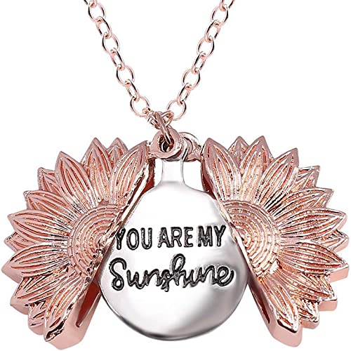 Sunflower Locket Necklace You are My Sunshine Pendant for Women Girls
