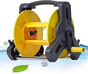 Garden Hose Reel Rack Trolley, Portable Water Hose Storage Reel Cart, Garden Planting Holder Tool Outdoor Organizer, for Household Gardening Watering and Various Cleaning(Hose Holder Only)