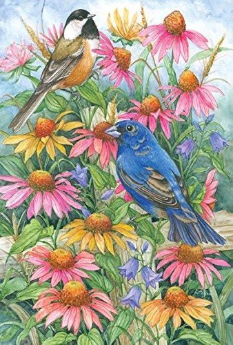Bunting Indigo - Toland Home Garden Chickadee and Indigo Bunting 12.5 x 18 Inch Decorative Colorful Spring Flower Bird Garden Flag