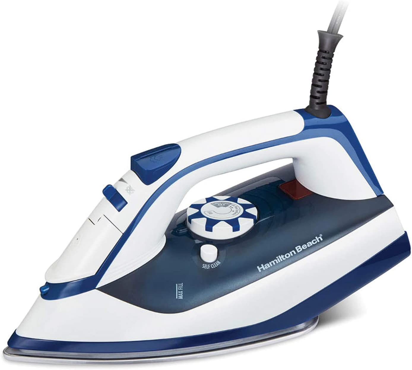 Hamilton Beach Iron & Steamer for Clothes with Smooth Press Stainless Steel Soleplate, 3-Way Auto Shutoff, 1500 Watts for High-Velocity Steam, 10' Cord, Leak-Proof Anti-Drip, White (14650)