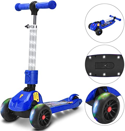 Opard 3 Wheel Scooter for Kids Toddler Scooter for Boys Girls, Adjustable Height, Light-Up Wide Deck Stem Flashing Wheels, Lean to Steer Foldable Kick Scooter for Children from 3 to 8 Years Old Blue