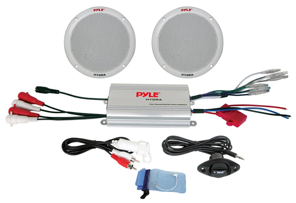"""Pyle Marine Receiver Speaker Kit - 2-Channel Amplifier w/ 6.5"""" Speakers (2) Waterproof Poly Bag 3.5mm Jack RCA Adaptor for MP3/iPod & Volume Gain Remote Control & Power Protection Circuitry - PLMRKT2A"""