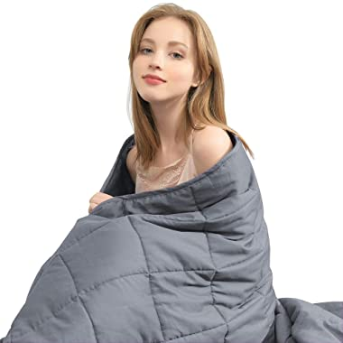 """Ourea 10 lbs Cooling Weighted Blanket   48"""" × 78""""   Twin Size   Grey   Evenly Distributed Weight   Perfect Size for Kids Youth Adults"""