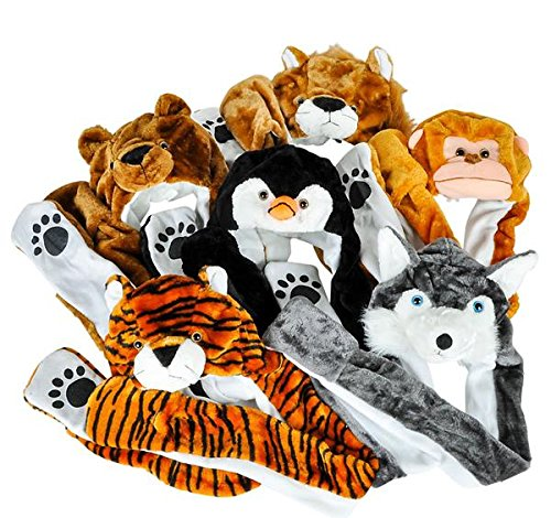 35'' PLUSH ANIMAL HAT MIX WITH LONG PAWS, Case of 36