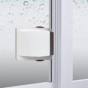 Sliding Glass Door Child Lock - OKEFAN 4 Pack Baby Safety Slide Window Locks for Kids Proof Patio Closet Doors No Drilling Tools Needed (Coffee)
