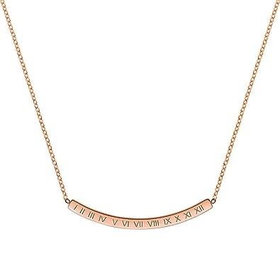 Aienid Collares Mujer Acero Inoxidable Oro Rosa Barra De ...