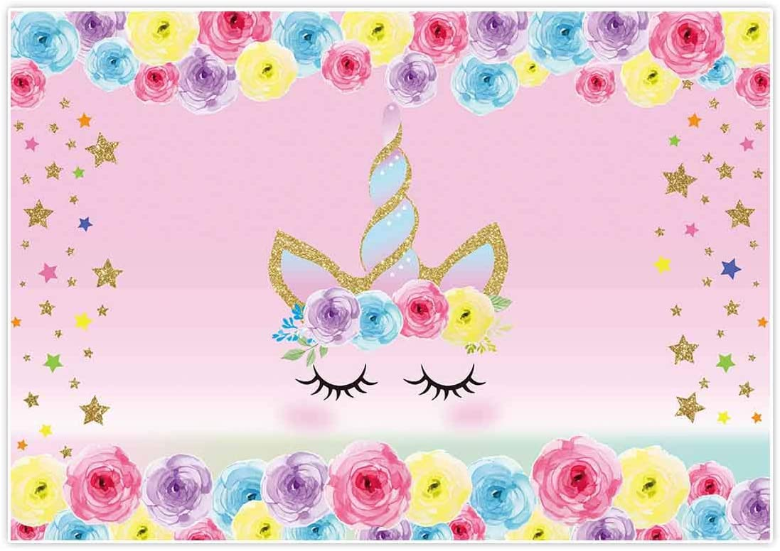 Unicorn Themed Photo Background for Girls Happy Birthday Sweet Princess Party Decoration Pink Flowers Photography Backdrop Newborn Baby Shower Photo Booth Props Vinyl 5x3ft Banner Supplies Cake Table