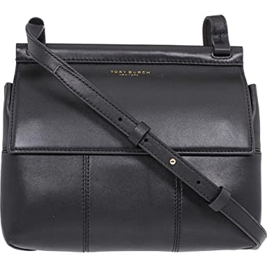 58b32725e3a369 Amazon.com  Tory Burch Block T Leather Crossbody in Black  Clothing
