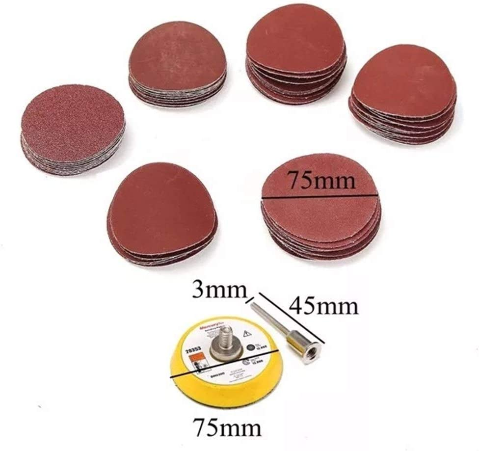 CHUNSHENN Durable 3 Inch 75mm Hook And Loop Sanding Pad With 60pcs Sand Paper Kit Abrasive Accessories
