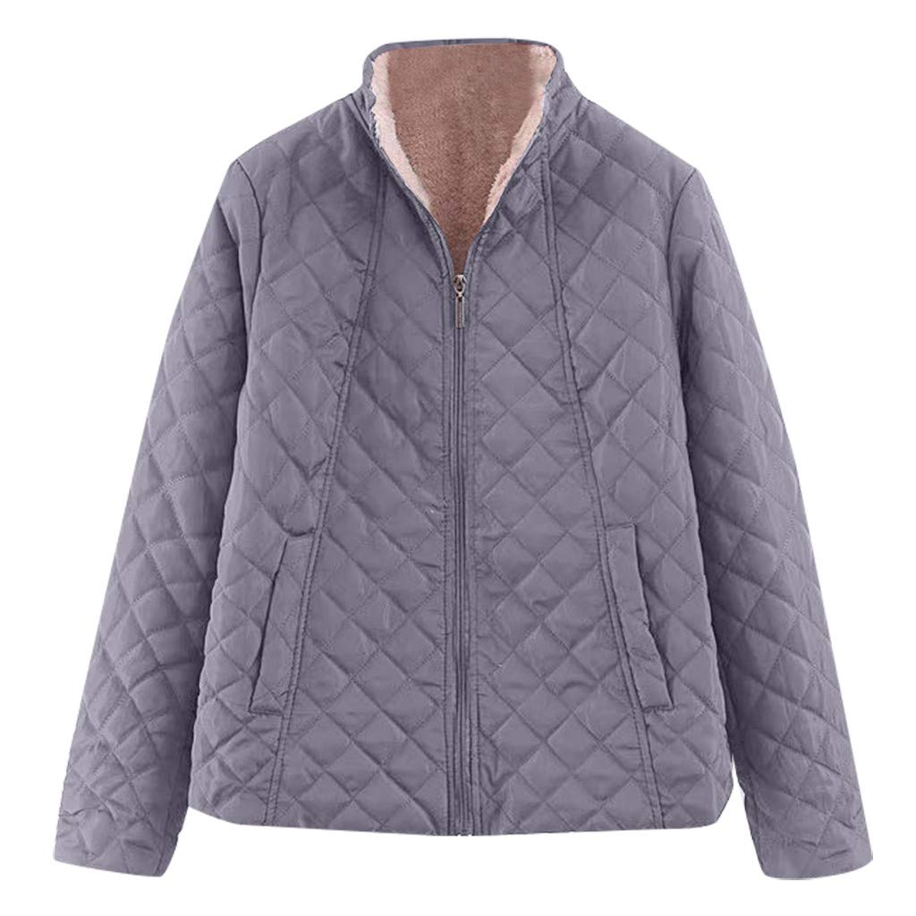 Spring Color  Women's Winter Diamond Long Sleeve Baseball Jacket Bomber Cotton Quilted Biker Zip Up Short Coat Dark Gray by 🍒 Spring Color 🍒