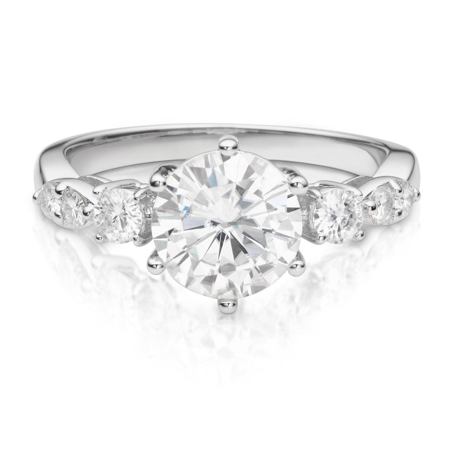 14K White Gold Moissanite by Charles & Colvard 8mm Round Engagement Ring-size 6, 2.22cttw DEW