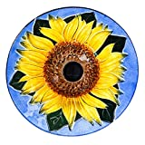 Evergreen Sunflower Outdoor Glass Solar Powered Birdbath, 18 Inch Diameter, Holds 64 Ounces