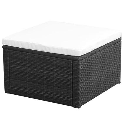 Charmant VidaXL Patio Rattan Wicker Outdoor Garden Footstool Footrest Ottoman Seat  Black