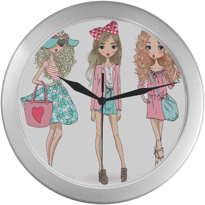 Amazon Com Girls Wall Clock Three Beautiful And Lovely Girls Wall Clock Unique 9 65 Inch Silver Quartz Frame Decor For Office School Kitchen Living Room Bedroom Home Kitchen