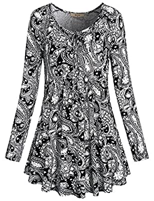 Miusey Women's Tie Neck Long Sleeve Floral Printed Flared Hem Tunic Tops