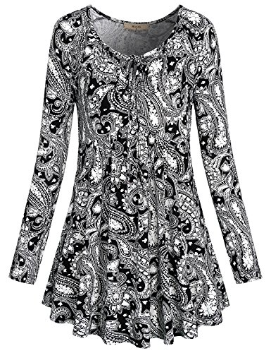 Miusey Tunic Blouse, Womens Clothing Split Neck Floral Printed Empire Waist Flared Bottom Drawcord Pleat Paisley Long Sleeve T Shirt Black (Paisley Empire Shirt)