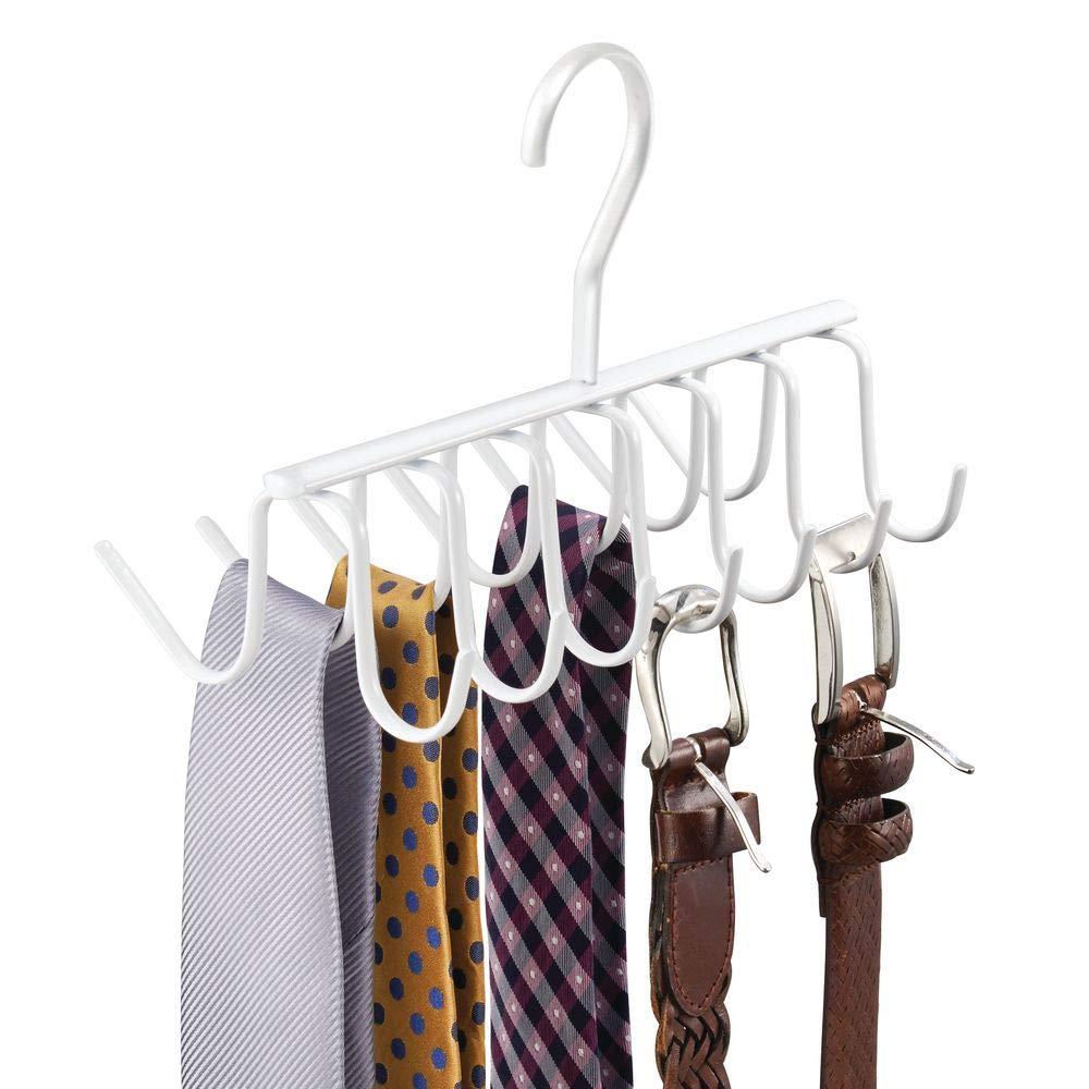 ... cinturones, corbatas y más - Corbatero organizador de armarios con 14 ganchos - Organizador de ropa para colgar en el placard - Blanco: Amazon.es: Hogar