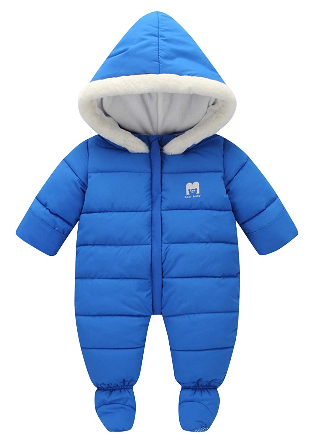 ee20ed79 Amazon.com: AIEOE Baby Hooded Fleece Romper Infant Thick Jumpsuit with Feet  Warm Snowsuit: Clothing