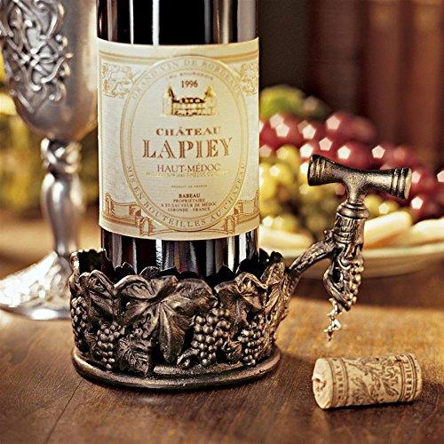 (Design Toscano Vineyard Harvest Wine Bottle Holder with Corkscrew, Pewter)