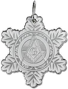 Snowflake Square & Compass Masonic Ornament - [White & Silver][2 1/2'' Tall]