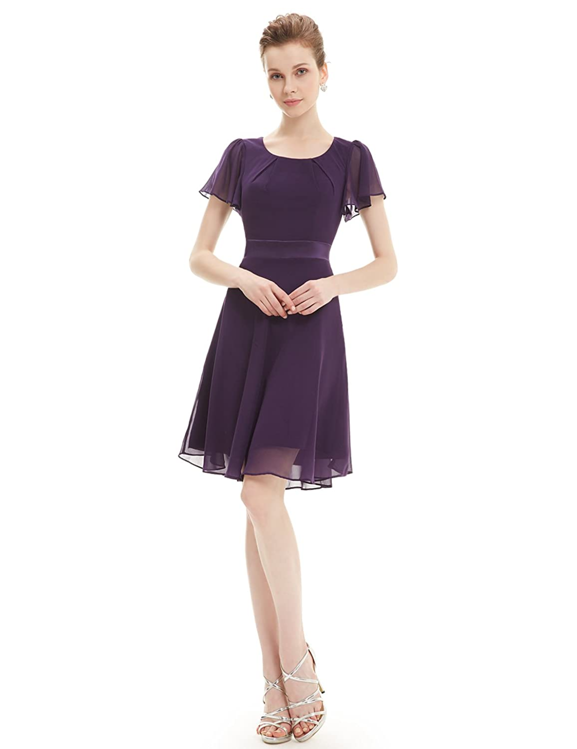 Ever Pretty Round Neckline Sleeve Ruched Short Casual Wear to Work Dress 03990