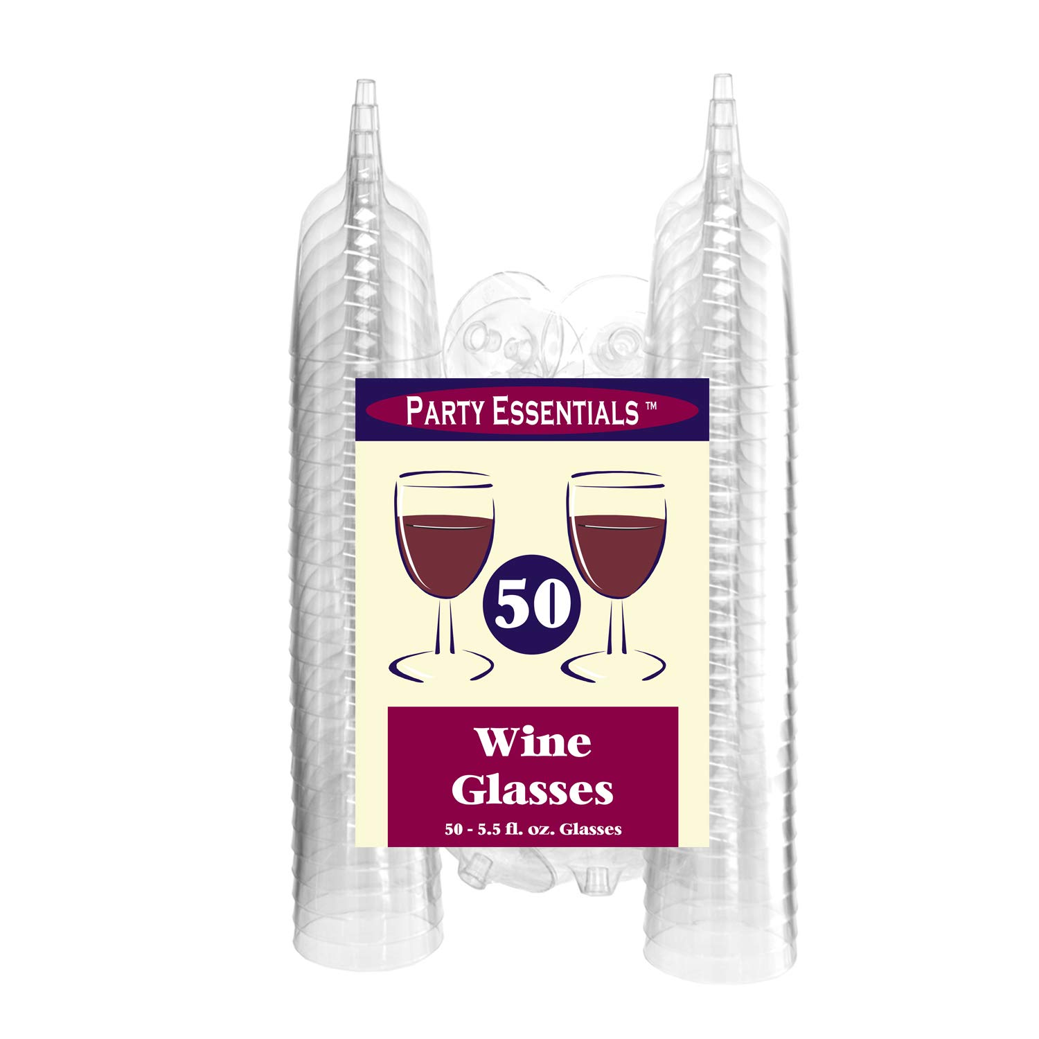 Party Essentials Hard Plastic Two Piece 5.5-Ounce Wine Glasses,Clear Pack of 100