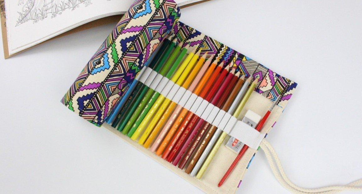 Kelaina Tragbar Fraktioniert Ethnischen Stil Leinwand Bleistift Wrap 72 farbige Bleistift aufrollen Fall Reise Stifthalter Organizer für Schule Büro Kunst Handwerk