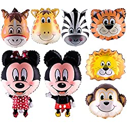Animal Head Foil Balloons (Monkey,Horse,Tiger,Lion,Zebra,Giraffe) with 20 pieces of Dragon-Fly Masks for Jungle/Safari Theme Birthday Parties. Mickey and Minnie Mouse Full Body Air- walker Jumbo Mylar