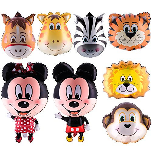 loons (Monkey,Horse,Tiger,Lion,Zebra,Giraffe) with 20 pieces of Dragon-Fly Masks for Jungle/Safari Theme Birthday Parties. Mickey and Minnie Mouse Full Body Air- walker Jumbo Mylar ()