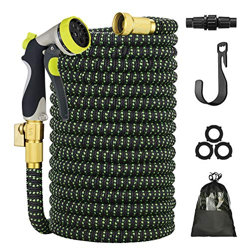 100 FT Expandable Garden Hose, Upgrade Garden Water Hose with 3/4 Brass Fittings, Durable Outdoor Gardening Flexible Hose for Yard, Expanding Garden Hoses with Spray Nozzle (100 FT, Black & Green)