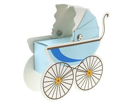 10pcs caja de gominolas – Bombonera para bautizo boda forma de cochecito bebé azul caja de