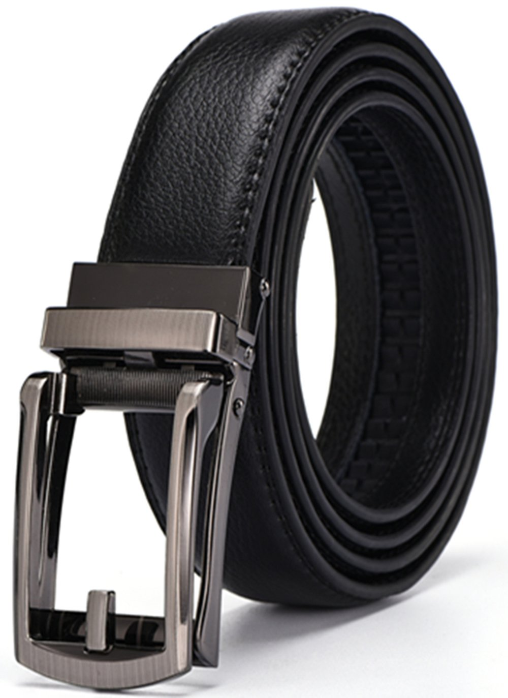 XQMART Men's Real Leather Ratchet Dress Belt with Buckle Elegant Gift Box (Up to 43'' Waist, Black4)