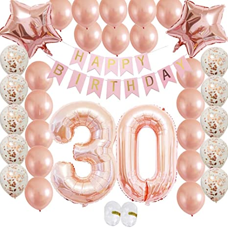 Cheeringup Rose Gold Vintage Happy 30th Birthday Decorations Banner With Confetti Latex Balloons Kit As Gift