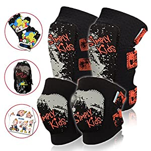 Innovative Soft Kids Knee and Elbow Pads Plus Bike Gloves | Toddler Protective Gear Set | Comfortable Breathable Safe | Roller-Skate, Skateboard, Rollerblade, BMX Knee Pads for Children Boys and Girls