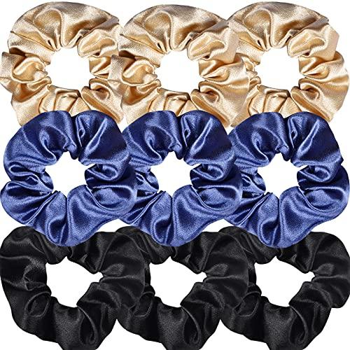 Bersiler Satin Scrunchies, Hair Ties for Women Teenage Girls, Regular Elastic Ropes Hair Bands, Satin Hair Ties - 9 pcs)