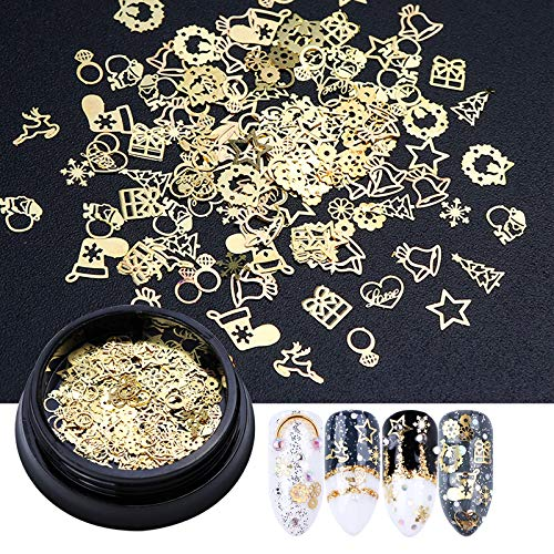 1 Bottle 3D Gold Metal Slices Nail Art Decoration Christmas Snowflake Star Mixed Design Hollow Tiny Slice Nail
