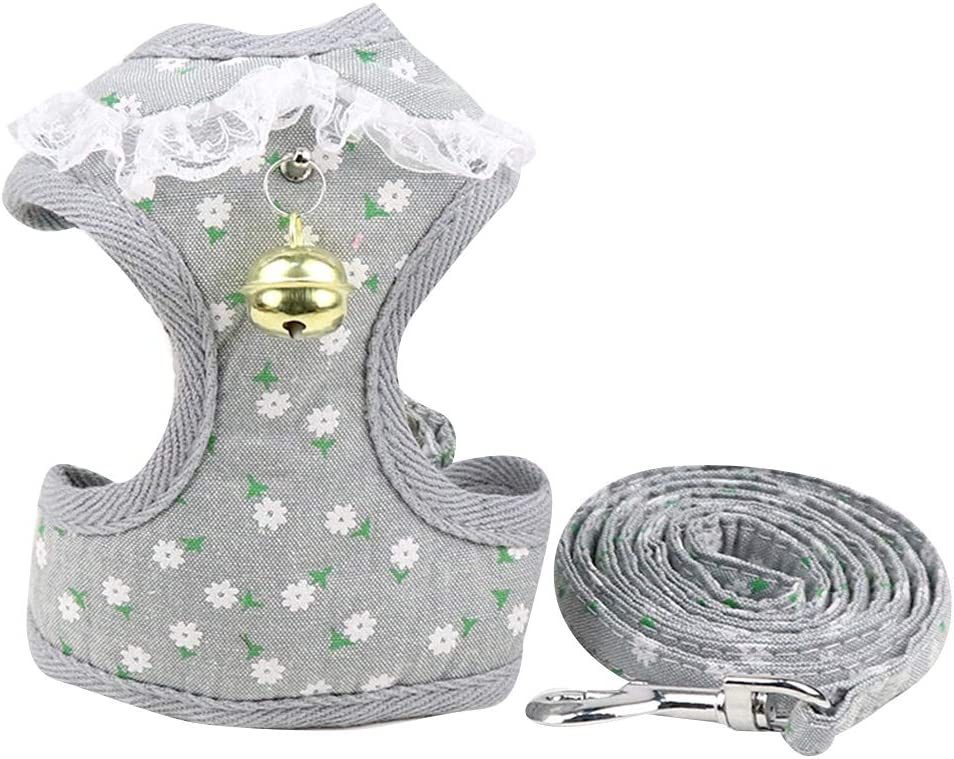Chats PET SPPTIES Gilet Harnais Laisse pour Chien R/églable Harnais Souple pour Chiot XS, Striped Grey Petits Animaux PS025