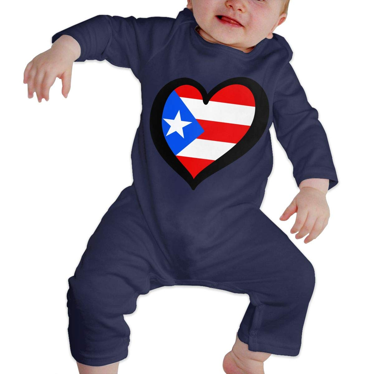 Baby Boy Girl Organic Coverall Heart Shaped Puerto Rico Flag Toddler Jumpsuit