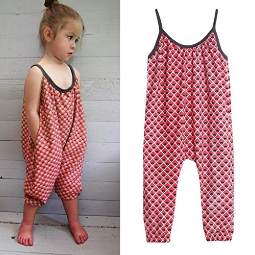 Franterd Baby Girls Straps Rompers, Kid Jumpsuits Piece Pants Clothing
