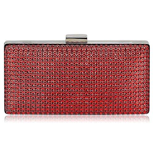 LeahWard® Diamante Braut-Hochzeit Abschlussball Kupplung Geldbörse Taschen Kristall Handtaschen 190 (Rot Sparkly Taschen)