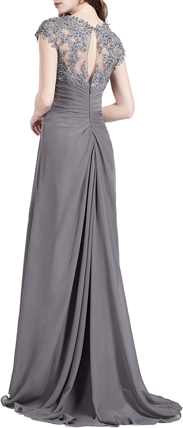 MACloth Women Queen Anne Lace Cap Sleeves Long Mother Bride Dresses Evening Gown Silver