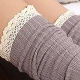 Flammi Women's Boot Socks with Crochet Lace Trim