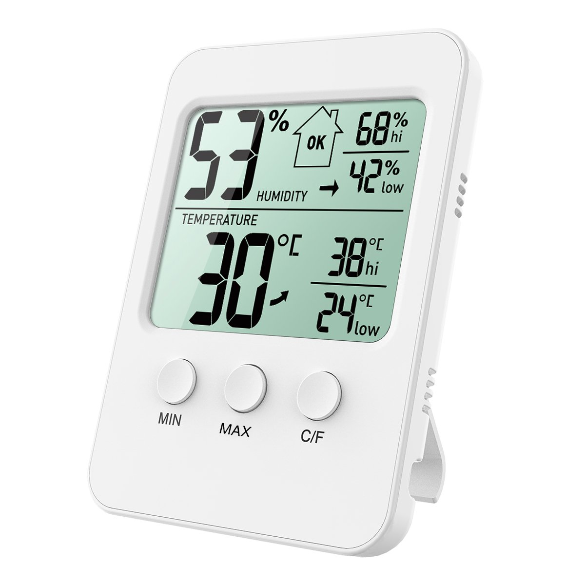 ORIA Digital Hygrometer Thermometer, Indoor Thermometer Humidity Monitor, Temperature Humidity Gauge Meter, with LCD Screen, MIN/MAX Records, ℃/℉ Switch, for Warehouse, Home, Car, Office, Greenhouse