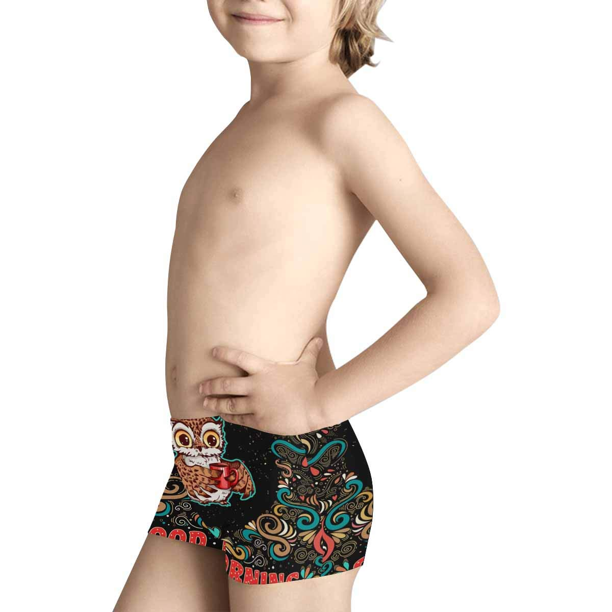 5T-2XL INTERESTPRINT Boys Cute Owl with Coffee Good Morning ComfortSoft Printed Boxer Briefs