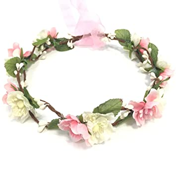 fce8df66a Amazon.com : Bridal Flower Crown Floral Crown Wedding Wreath Headband  Garland Women Pink : Beauty