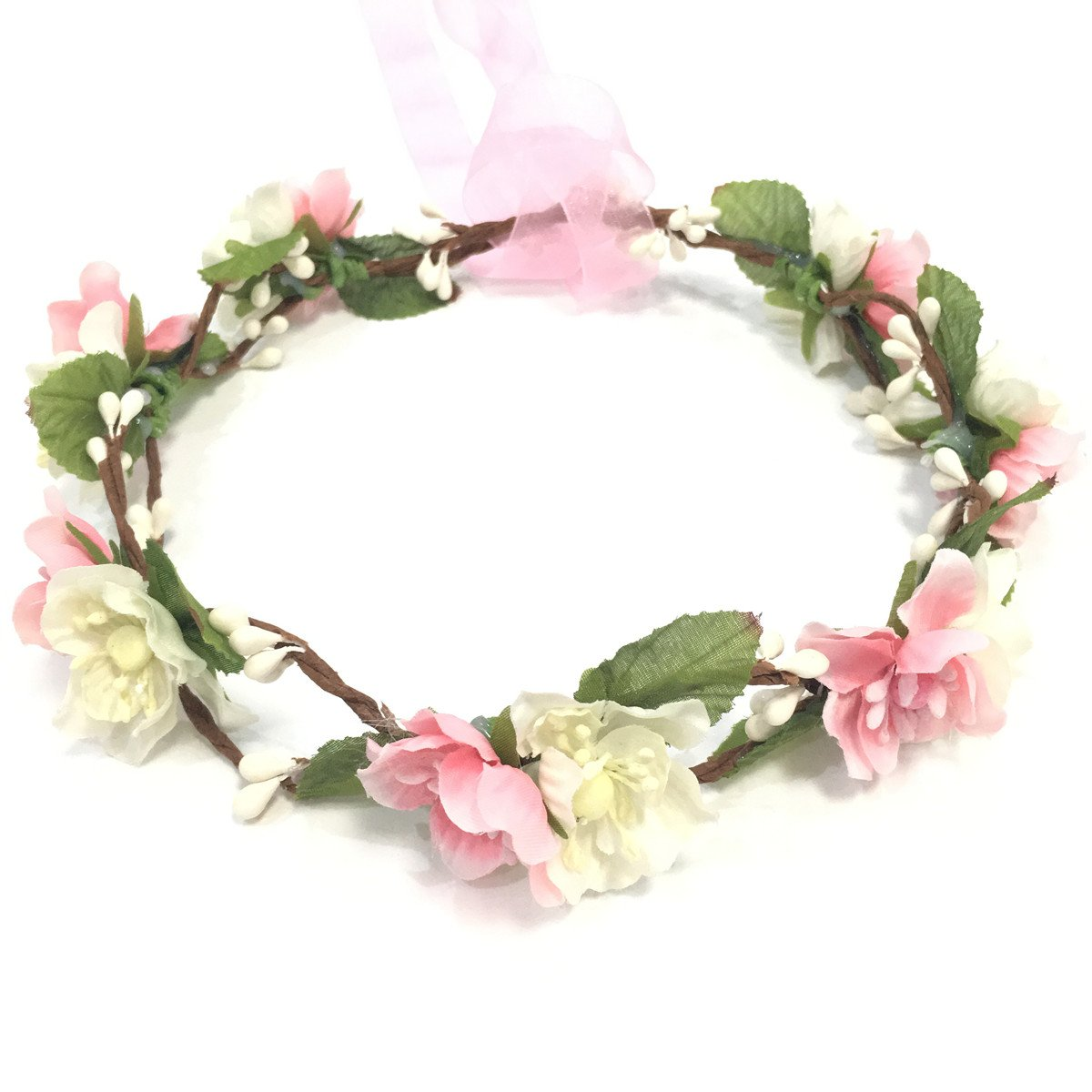 Amazon.com   Bridal Flower Crown Floral Crown Wedding Wreath Headband  Garland Women Pink   Beauty 9a221932ceb