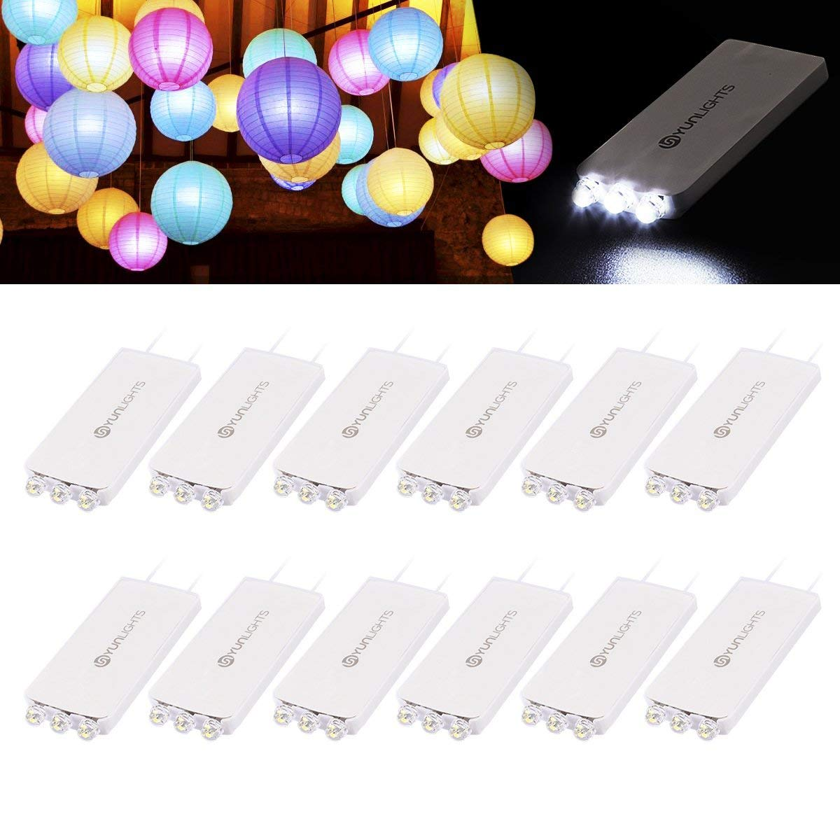 10 Pack LED Lights for Paper Lanterns Balloons Wedding Birthday Party Decoration, Waterproof, Warm White Lights with 3 LEDs YUNLIGHTS