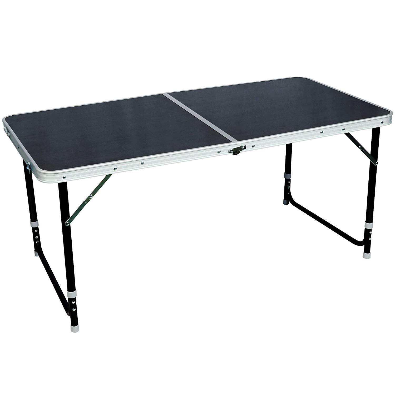 Timber Ridge Portal Lightweight Folding Camping Table Adjustable Height Black