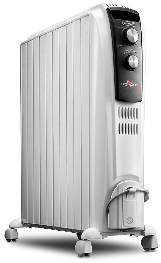 Delonghi Dragon TRD04 1025 - Radiador de aceite, 2500 w, función anti heladas, 3 ajustes potencia, asa y ruedas, almacenamiento cable, blanco
